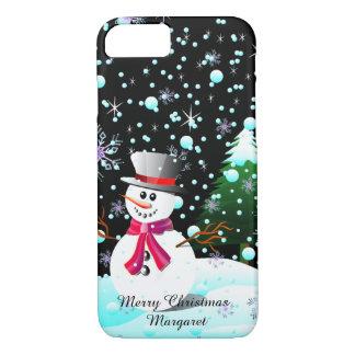 """Funda Para iPhone 8/7 Muñeco de nieve """"Felices Navidad"""" personalizadas"""