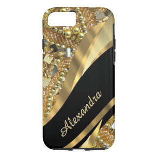 Funda Para iPhone 8/7 Negro elegante elegante personalizado y oro bling
