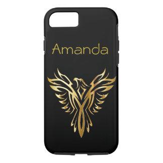 Funda Para iPhone 8/7 Negro personalizado y oro Phoenix