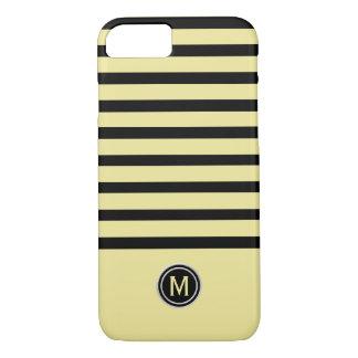 Funda Para iPhone 8/7 Negro y monograma amarillo de la raya del plátano