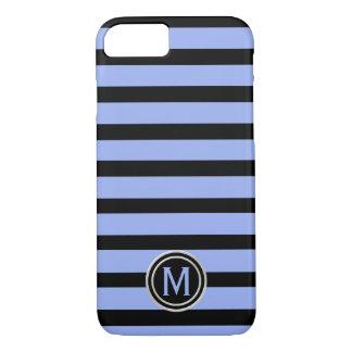 Funda Para iPhone 8/7 Negro y monograma de la raya azul del bígaro