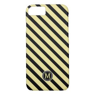 Funda Para iPhone 8/7 Negro y monograma diagonal amarillo de la raya del