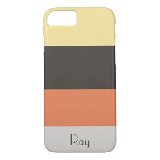 Funda Para iPhone 8/7 Nombre anaranjado del personalizar de la raya del
