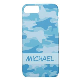 Funda Para iPhone 8/7 Nombre azul del camuflaje de Camo personalizado