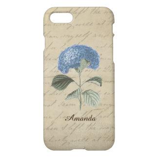 Funda Para iPhone 8/7 Nombre azul del personalizado del Hydrangea de la