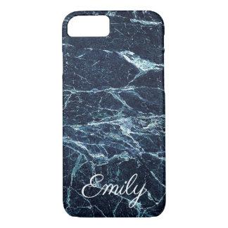 Funda Para iPhone 8/7 Nombre personalizado mármol moderno azul