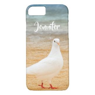 Funda Para iPhone 8/7 Nombre personalizado pájaro blanco de la paloma