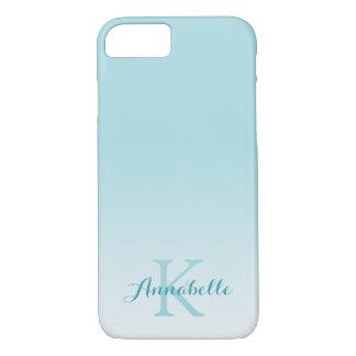 Funda Para iPhone 8/7 Nombre y monograma azules en colores pastel de