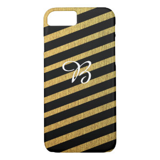 Funda Para iPhone 8/7 Oro diagonal elegante y monograma negro
