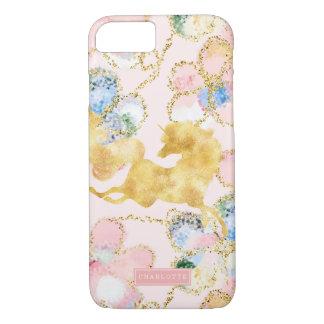 Funda Para iPhone 8/7 Oro floral femenino del rosa del unicornio