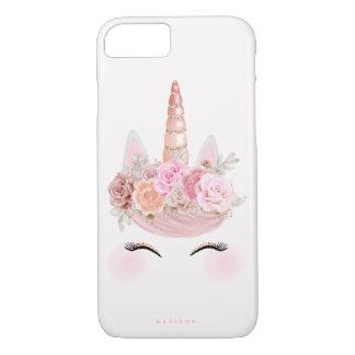 Funda Para iPhone 8/7 Oro subió rosa floral de la cara del unicornio