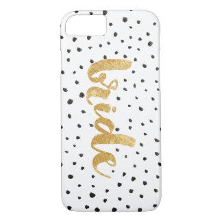 Funda Para iPhone 8/7 Oro y novia modernos de los puntos del negro