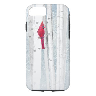 Funda Para iPhone 8/7 Pájaro cardinal rojo en árbol de abedul nevoso