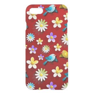 Funda Para iPhone 8/7 Pájaros y flores de la primavera roja