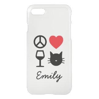 Funda Para iPhone 8/7 Paz, amor, vino y gatos personalizados
