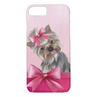 Funda Para iPhone 8/7 Perro de perrito rosado de princesa Yorkie de