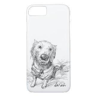 Funda Para iPhone 8/7 Perro lindo que dibuja nombre blanco negro del