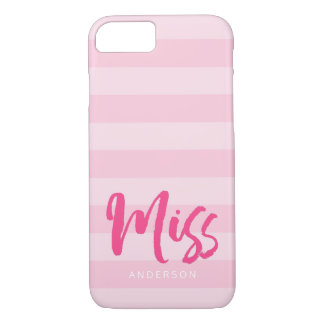 Funda Para iPhone 8/7 Personalice con Srta. conocida Pink Stripes Preppy