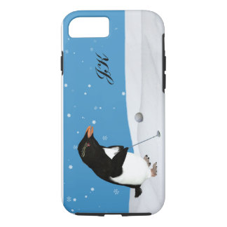Funda Para iPhone 8/7 Pingüino chistoso que juega al golf, monograma