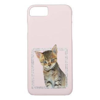 Funda Para iPhone 8/7 Pintura del gatito del Tabby con el falso marco de