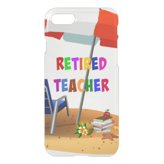 Funda Para iPhone 8/7 Profesor jubilado, escena de la playa (revisada)