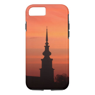 Funda Para iPhone 8/7 Puesta del sol con la iglesia para el caso de