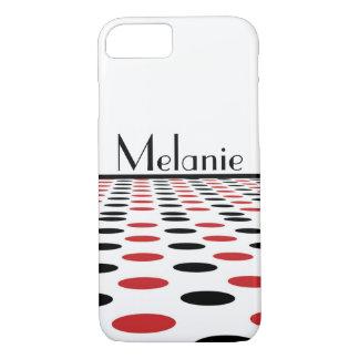 Funda Para iPhone 8/7 Puntos rojos y negros modernos en blanco