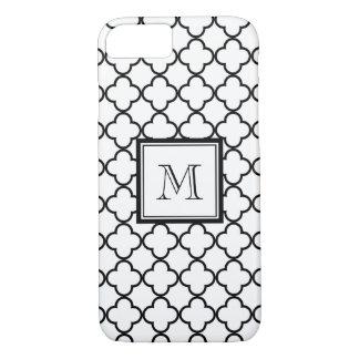 Funda Para iPhone 8/7 Quatrefoil blanco y negro, su monograma