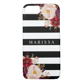 Funda Para iPhone 8/7 Raya floral rosada de Borgoña Marsala de la