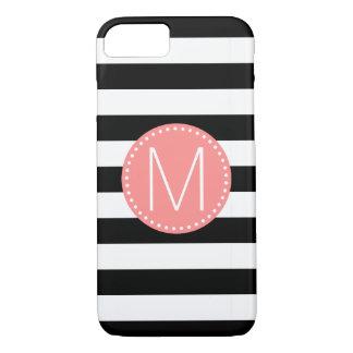 Funda Para iPhone 8/7 Raya negra y blanca con el monograma coralino