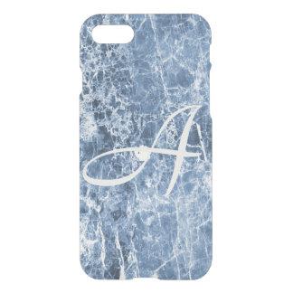 Funda Para iPhone 8/7 Regalo de mármol azul del monograma del mar de