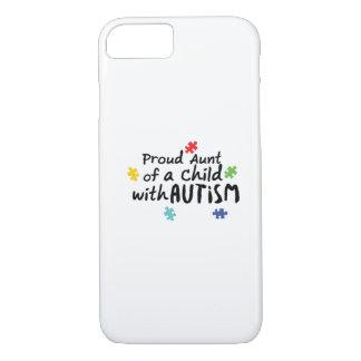 Funda Para iPhone 8/7 Regalo orgulloso de tía Autism Awareness Puzzle
