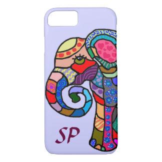 Funda Para iPhone 8/7 Retrato colorido del elefante del arte popular del