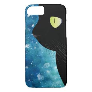 Funda Para iPhone 8/7 Retrato elegante del gato negro en caja azul del
