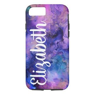 Funda Para iPhone 8/7 Salpicadura bohemia púrpura y azul y nombre de la