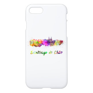 Funda Para iPhone 8/7 Santiago de Chile V2 skyline in watercolor