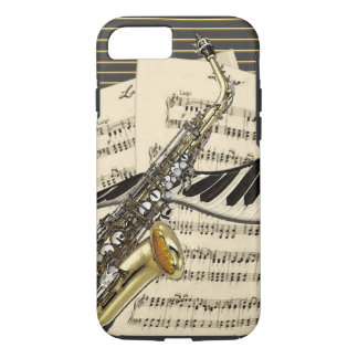 Funda Para iPhone 8/7 Saxofón y música del piano
