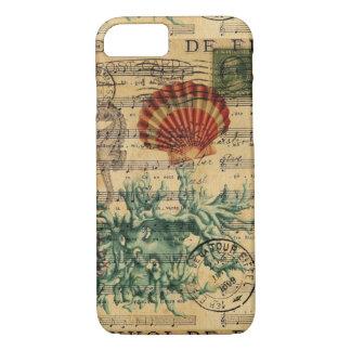 Funda Para iPhone 8/7 seashell coralino costero elegante del seahorse de