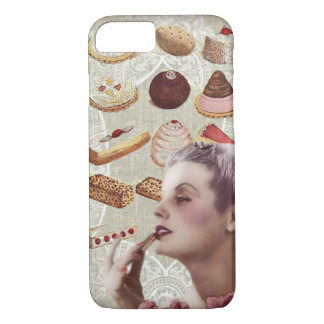 Funda Para iPhone 8/7 señora retra París de los pasteles de la magdalena