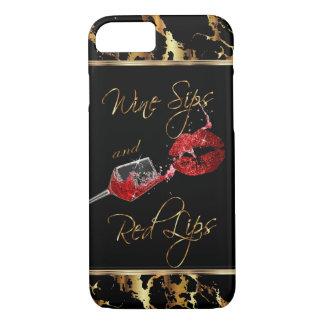 Funda Para iPhone 8/7 Sorbos del vino y labios rojos