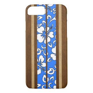 Funda Para iPhone 8/7 Tabla hawaiana de madera hawaiana del hibisco de