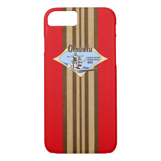 Funda Para iPhone 8/7 Tándem que practica surf falso rojo de madera