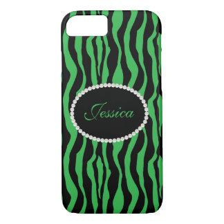 Funda Para iPhone 8/7 Teléfono verde elegante del monograma del