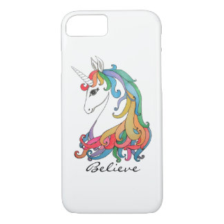 Funda Para iPhone 8/7 Unicornio lindo del arco iris de la acuarela