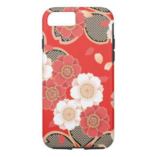 Funda Para iPhone 8/7 Vector blanco rojo floral retro del vintage lindo