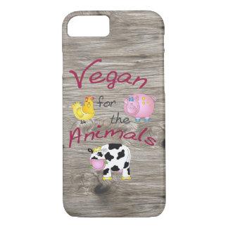 """Funda Para iPhone 8/7 """"Vegano para los animales"""" con el cerdo, la vaca y"""