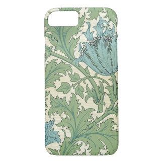 Funda Para iPhone 8/7 Vintage floral del diseño azul de la anémona de
