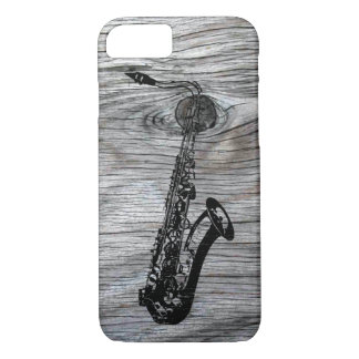 Funda Para iPhone 8/7 Vintage y saxofón rústico en la madera vieja