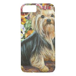Funda Para iPhone 8/7 Yorkshire Terrier lindo en jardín del pensamiento