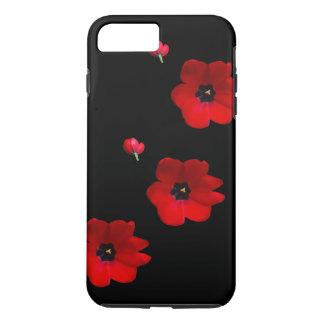 Funda Para iPhone 8 Plus/7 Plus Abra los tulipanes rojos en la caja negra del
